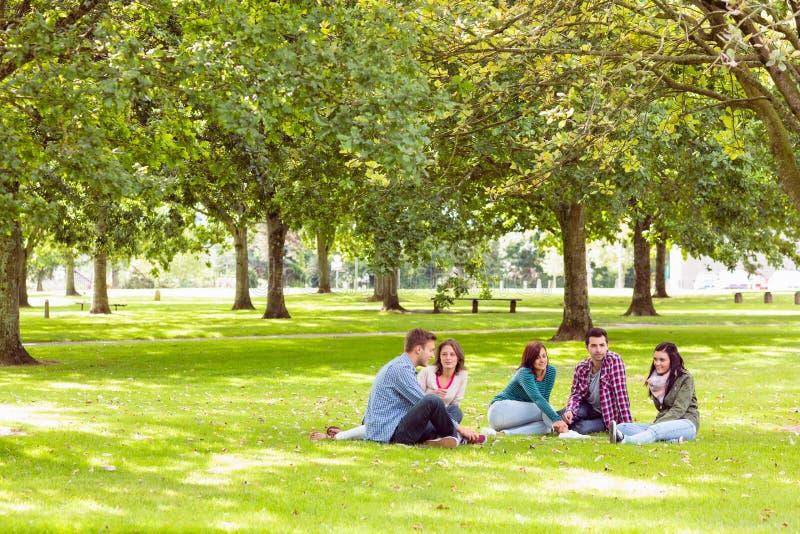 Studenten die op gras in park zitten stock foto