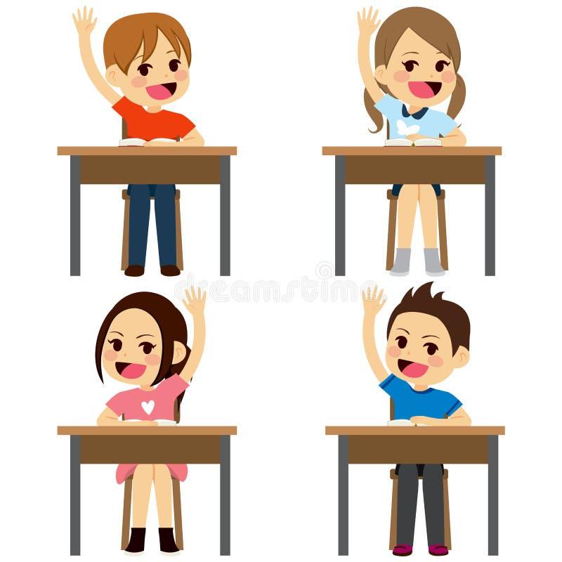 Studenten, die Schreibtische sitzen lizenzfreie abbildung