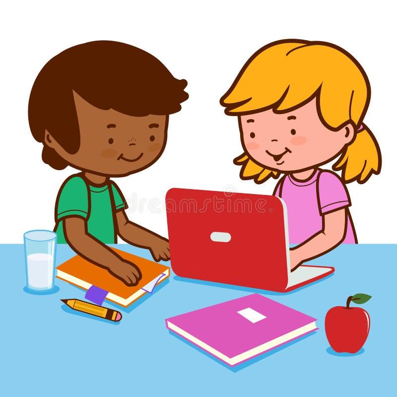Studenten die thuiswerk doen die een computer met behulp van vector illustratie