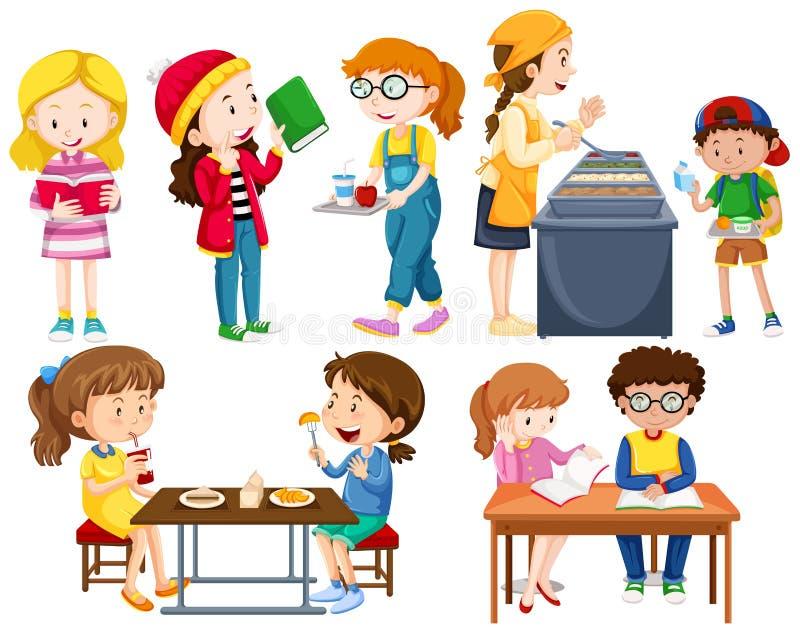 Studenten, die verschiedene Tätigkeiten tun lizenzfreie abbildung