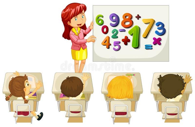 Studenten die wiskunde in klaslokaal leren stock illustratie