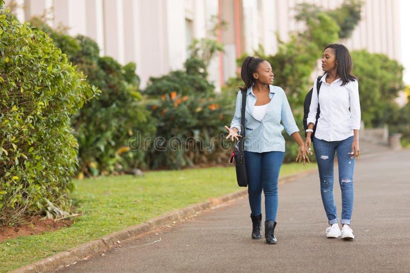 Studenten, die zusammen gehen stockfoto