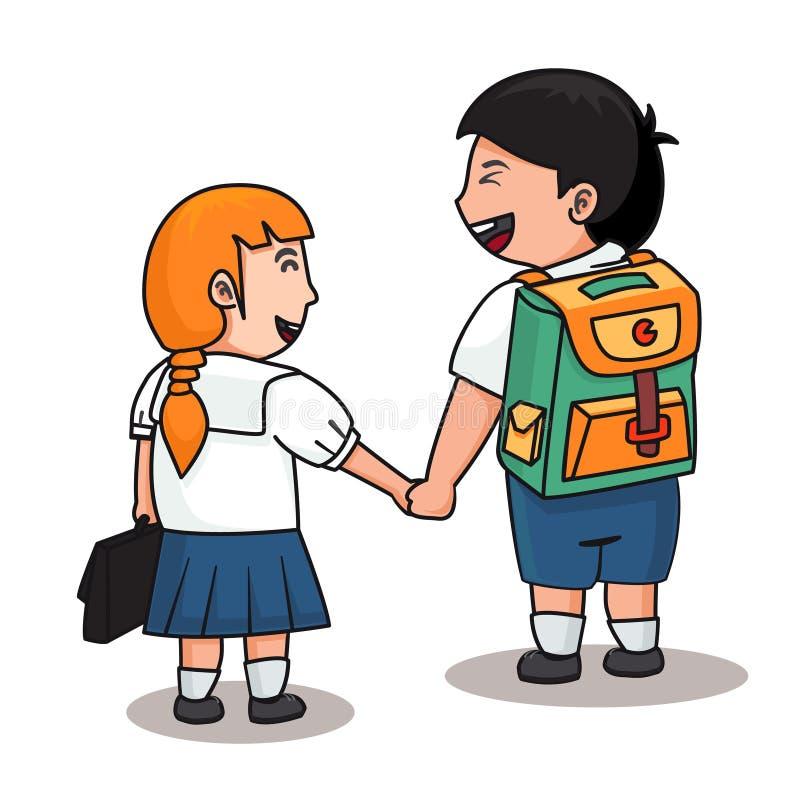 2 studenten in eenvormig houden hen handen stock illustratie