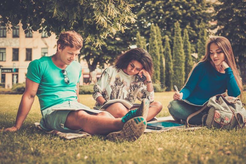 Studenten in einem Stadtpark stockfotografie