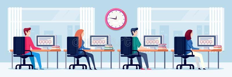 Studenten führen Prüfungstest, Vektorillustration On-line-Bildung und Lernkonzept Leute, die Computer im Kabinett verwenden lizenzfreie abbildung