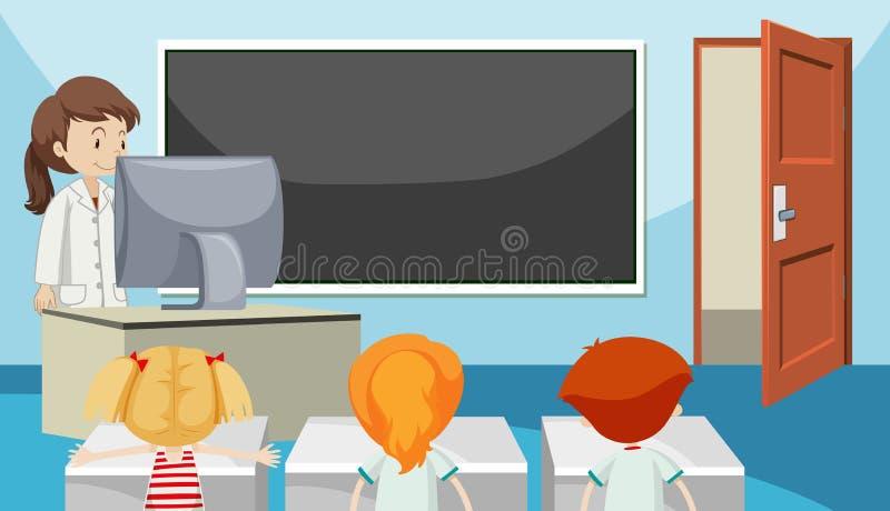 Studenten in klassenruimte stock illustratie