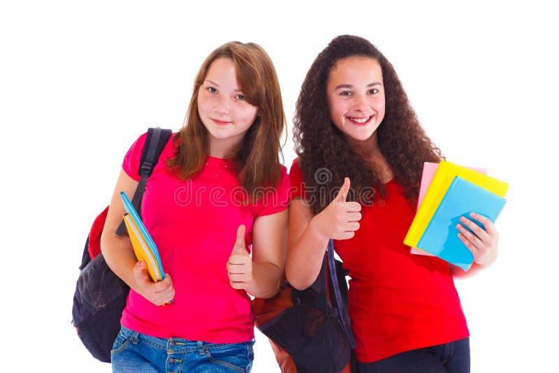 Studenten met omhoog duim stock foto's