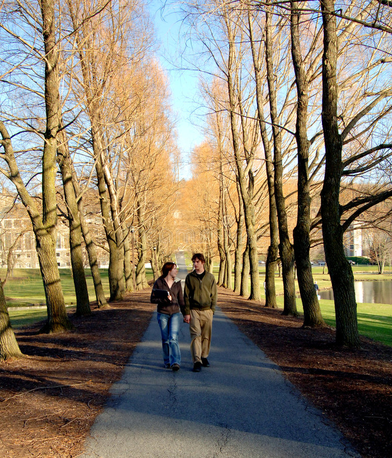 Studenten op campus stock fotografie