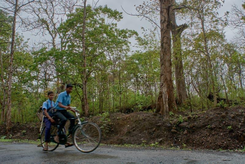 Studenten op fiets in dandeli bosweg bij dichtbijgelegen yellapur karnataka stock foto's