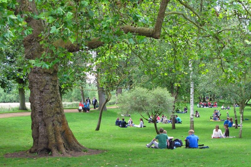 Studenten in park, Oxford, het UK. stock foto