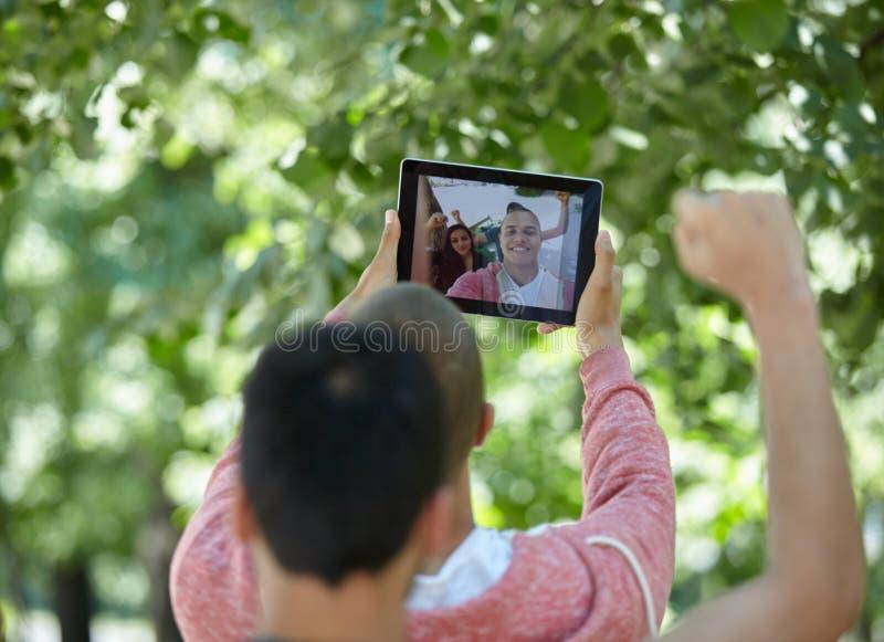 Studenten selfie stockbild