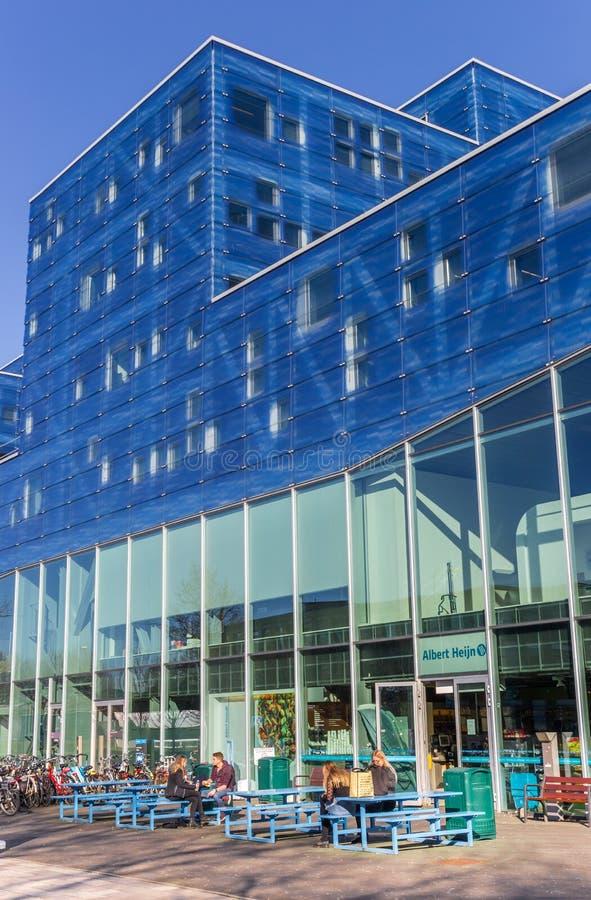 Studenten, welche die Sonne an der Groningen-Universit?t genie?en stockbilder