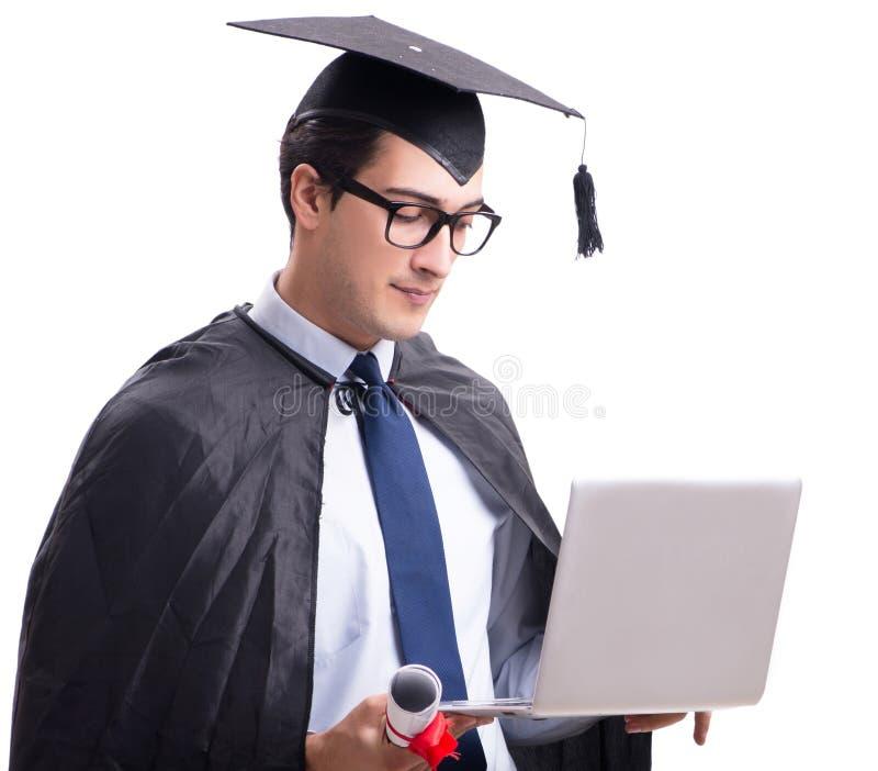 Studentenabsolvent lokalisiert auf wei?em Hintergrund stockfotografie