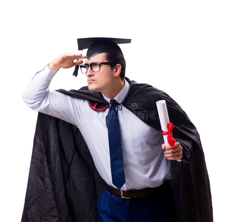 Studentenabsolvent lokalisiert auf wei?em Hintergrund lizenzfreie stockfotografie