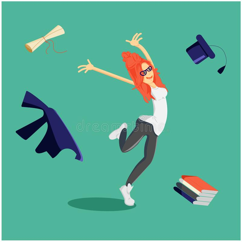 Studentenabsolvent mit dem roten Haar und in den Gläsern bestand Prüfungen und empfing ein Diplom stock abbildung