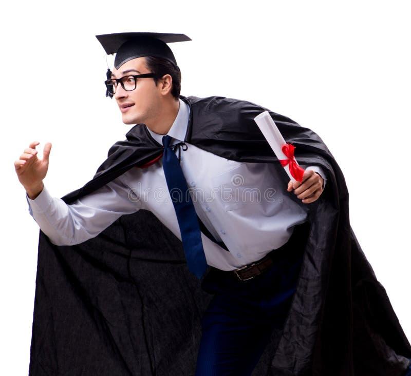 Studentengediplomeerde op witte achtergrond wordt ge?soleerd die stock afbeelding