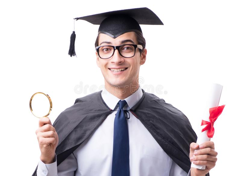 Studentengediplomeerde op witte achtergrond wordt ge?soleerd die royalty-vrije stock afbeeldingen