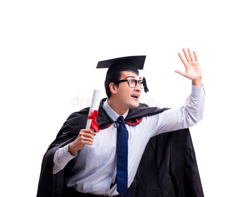 Studentengediplomeerde op witte achtergrond wordt ge?soleerd die stock foto's