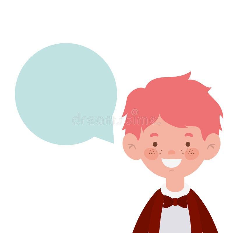 Studentenjunge, der mit Spracheblase lächelt lizenzfreie abbildung