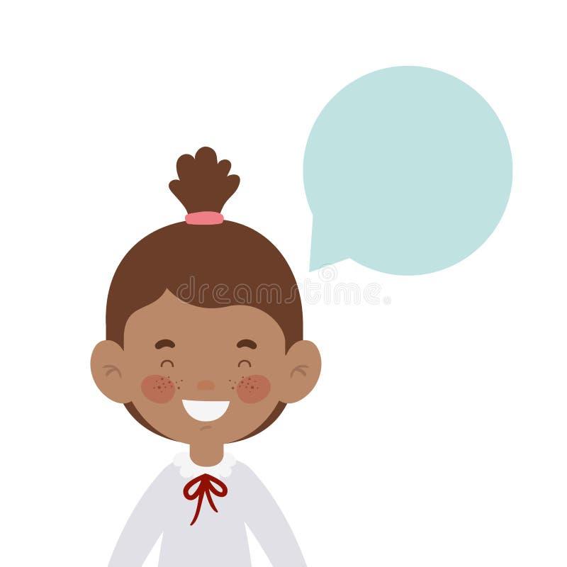 Studentenmädchen, das mit Spracheblase lächelt lizenzfreie abbildung