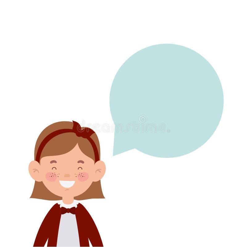 Studentenmädchen, das mit Spracheblase lächelt stock abbildung