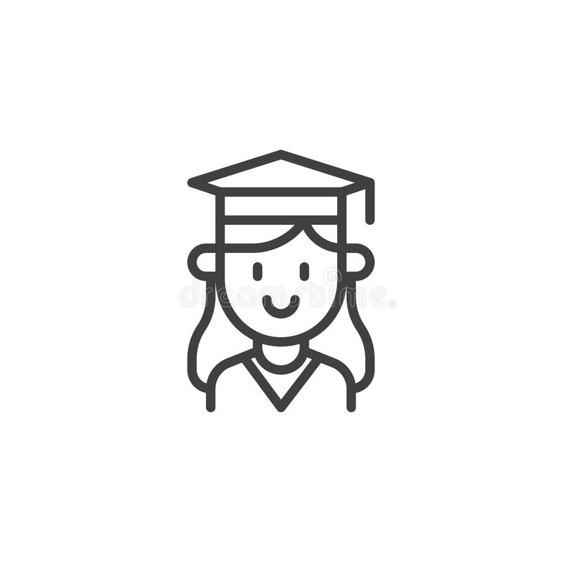 Studentenmädchenporträt-Entwurfsikone stock abbildung
