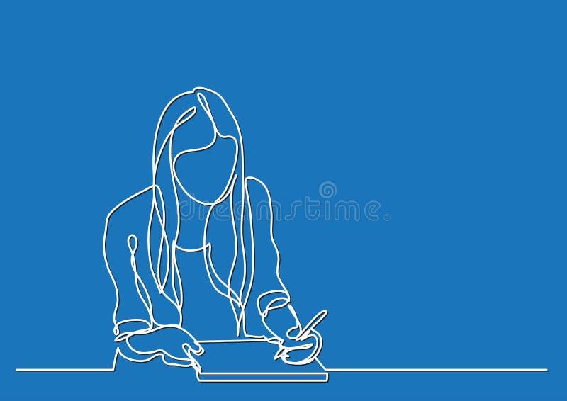 Studentenmädchenschreiben - ununterbrochenes Federzeichnung lizenzfreie abbildung