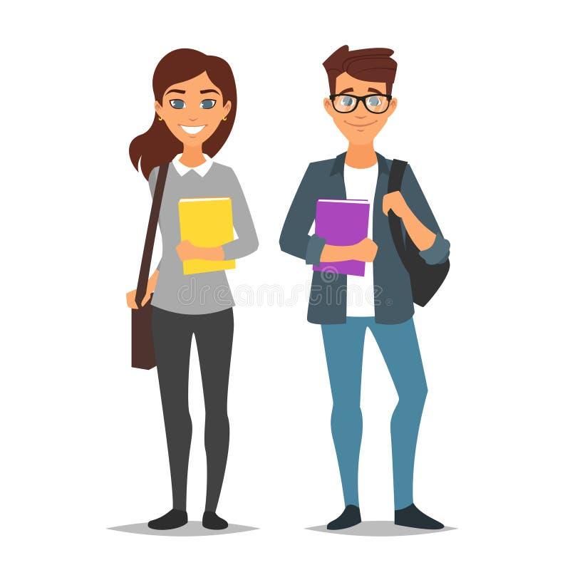 Studentenman en vrouw vector illustratie