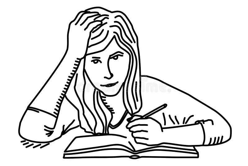 Studentenmeisje die thuiswerk voorbereiden Onderwijs stock illustratie