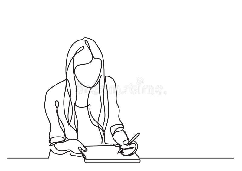 Studentenmeisje het schrijven - ononderbroken lijntekening vector illustratie