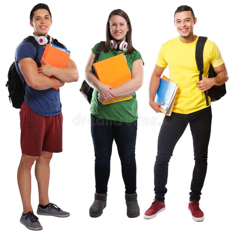 StudentenStudentengruppe Körperporträtausbildung der jungen Leute volle lokalisiert lizenzfreie stockfotos