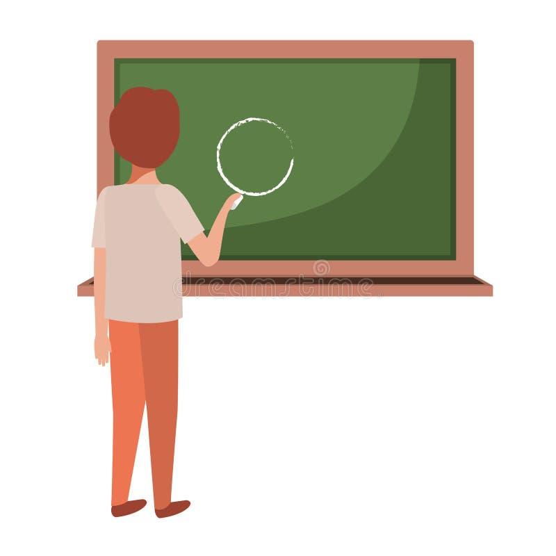Studentenzeichnungskreis in der Tafel stock abbildung
