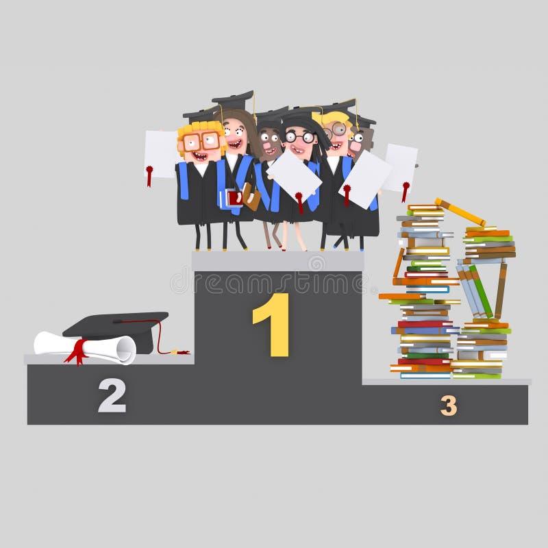 Studenter, böcker och diplom på podiet vektor illustrationer