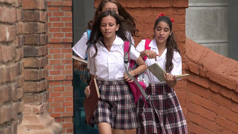 Studenter bråttom royaltyfri bild