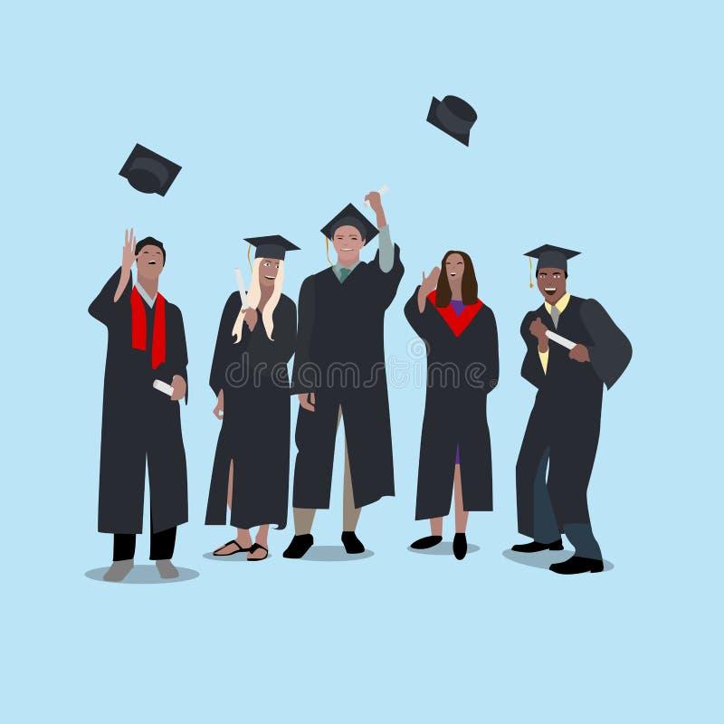 Studenter har att fira avläggande av examen av universitetet royaltyfri illustrationer