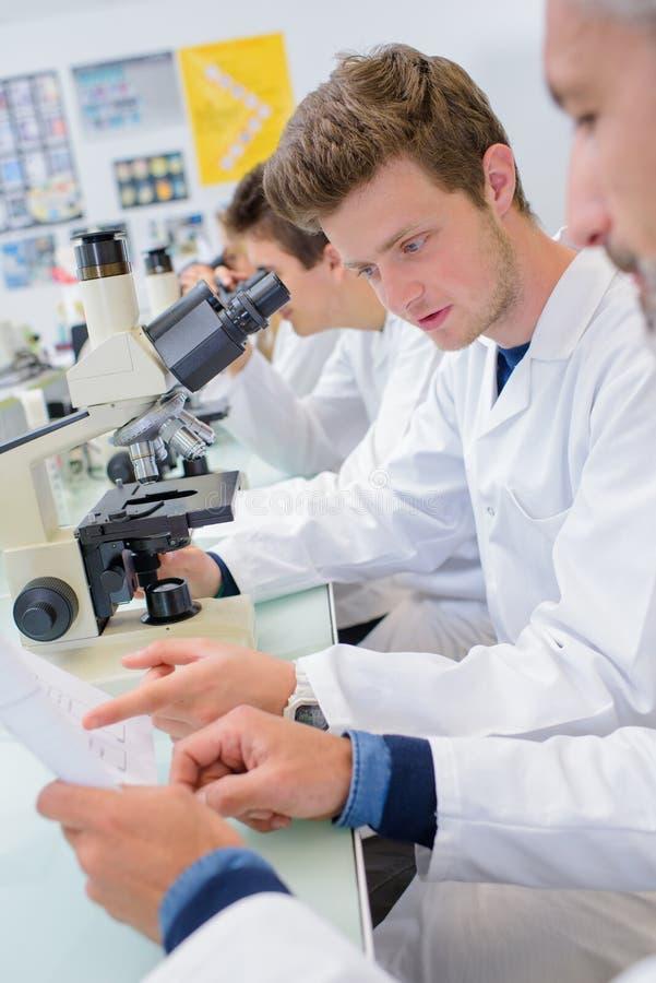 Studenter i labb genom att använda mikroskop som läser skrivbordsarbete royaltyfri foto