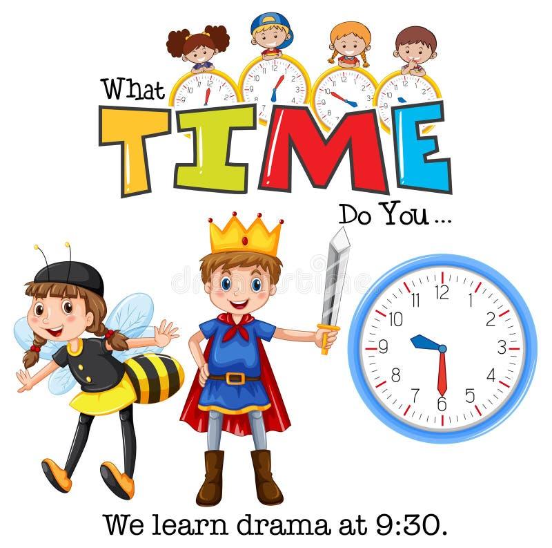 Studenter lär drama på 9:30 stock illustrationer
