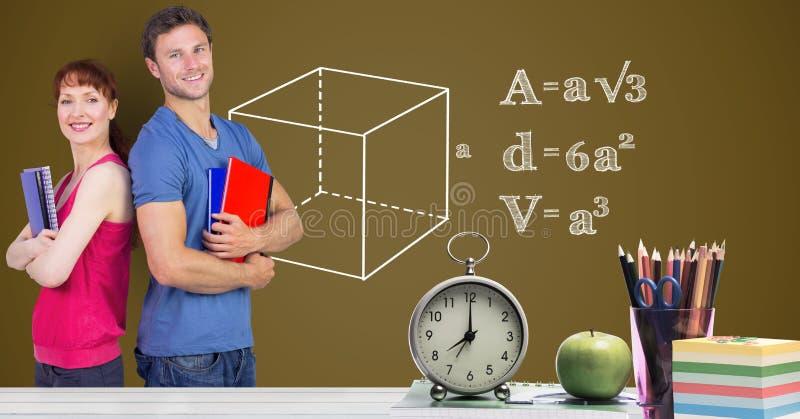 Studenter mot diagram och tabellen framme vektor illustrationer