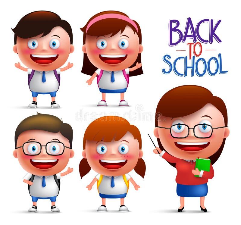Studenter och lärarevektortecken - uppsättning av pojkar och flickor i likformig royaltyfri illustrationer