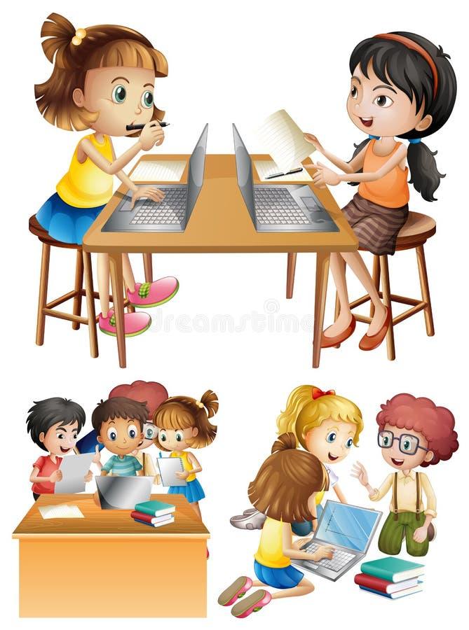 Studenter som arbetar på datoren royaltyfri illustrationer