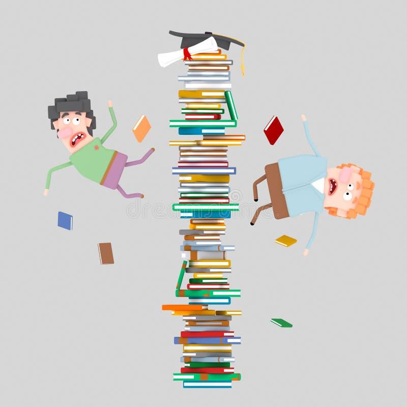 Studenter som av faller berg av böcker 3d vektor illustrationer