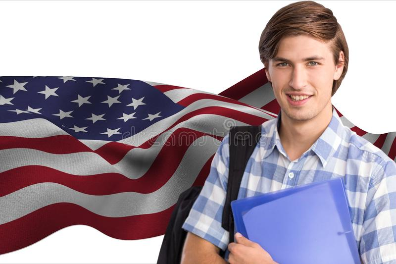 studenter som bär påsen och den hållande mappen mot amerikanska flagganbakgrund vektor illustrationer