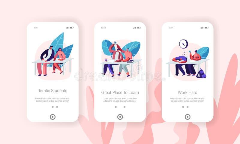 Studenter som besöker föreläsning i universitetbegreppet för Website eller webbsida Lära för tecken som får högre utbildning, kun royaltyfri illustrationer