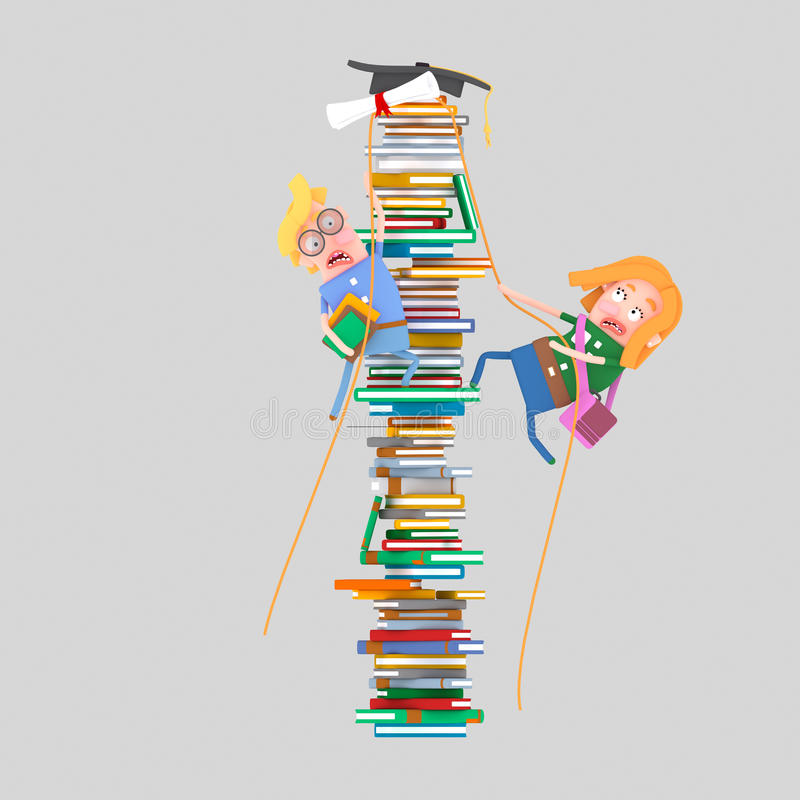 Studenter som klättrar berget av böcker 3d stock illustrationer