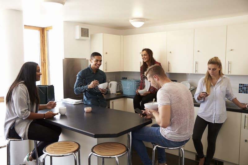 Studenter som kopplar av i kök av delat boende arkivbild
