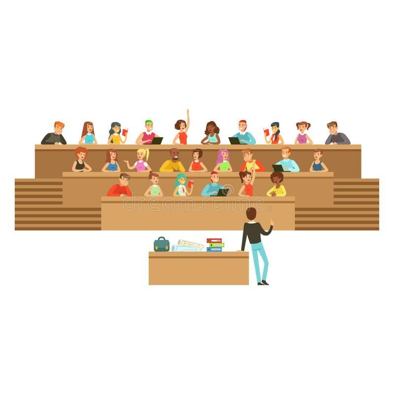 Studenter som lyssnar i en hörsal i universitet eller högskola och att ta anmärkningar som frågar frågor, högstadiumutbildning stock illustrationer