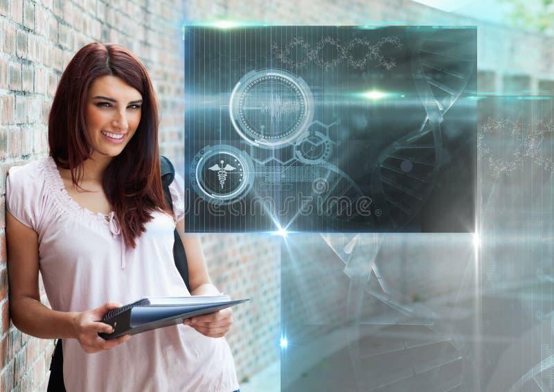 Studentessa con le cartelle e la sovrapposizione dei grafici dell'interfaccia di istruzione di scienza illustrazione di stock