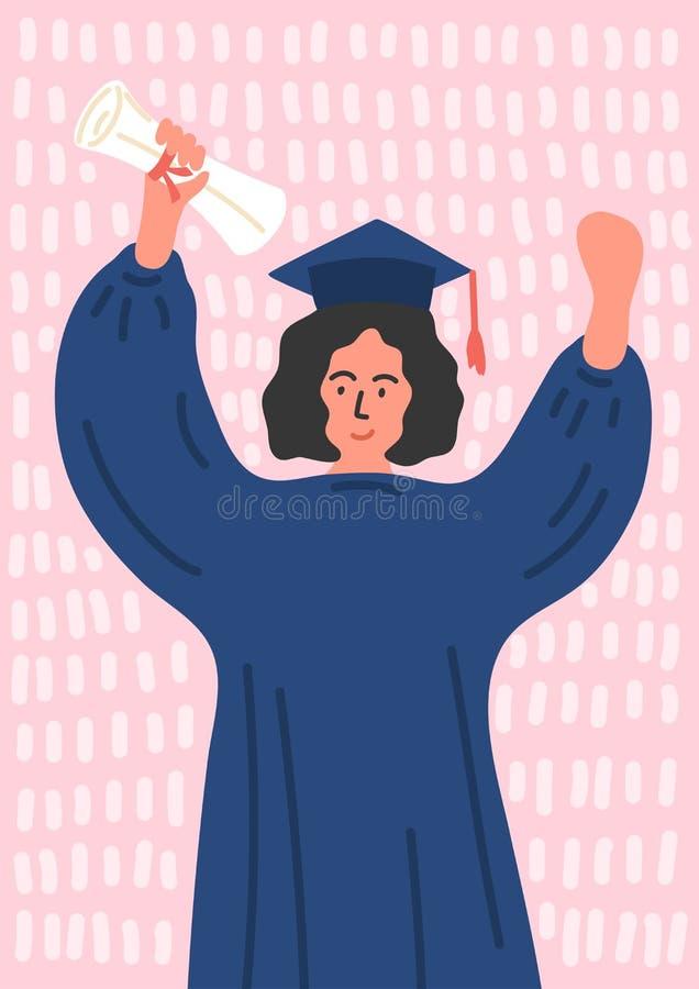 Studentessa graduata felice in abito di graduazione illustrazione vettoriale