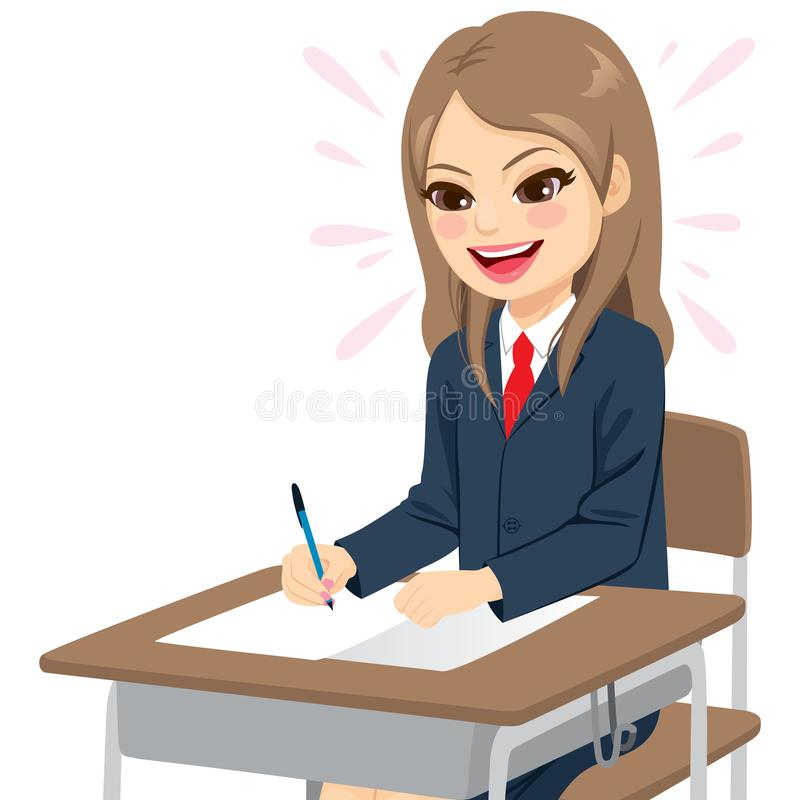 Studentessa Happy Easy Exam royalty illustrazione gratis