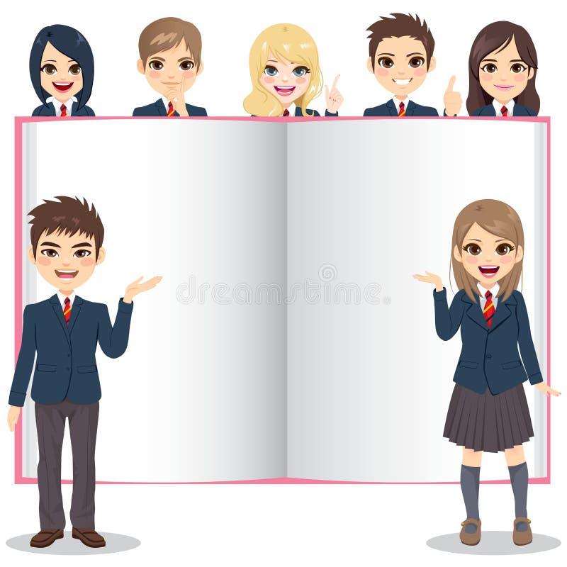 Studenti che presentano libro in bianco bianco royalty illustrazione gratis